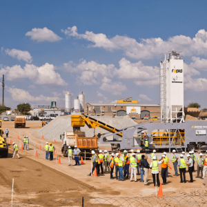 Rapidmix mobile continuous concrete mixing plant / pugmill pictured on road subbase project in South Africa.