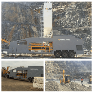 Rapidmix mobile continuous concrete mixing plant pugmill mine backfill tanzania
